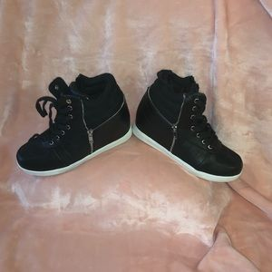 Torrid Black Zipper Sneaker Wedges Size 9